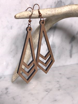 Grace Walnut Wood HiLo Earrings-Artisan Made, Boho, Earrings, Vintage, Wooden Earrings, Year Round-Womens Artisan USA American Made Clothing Accessories