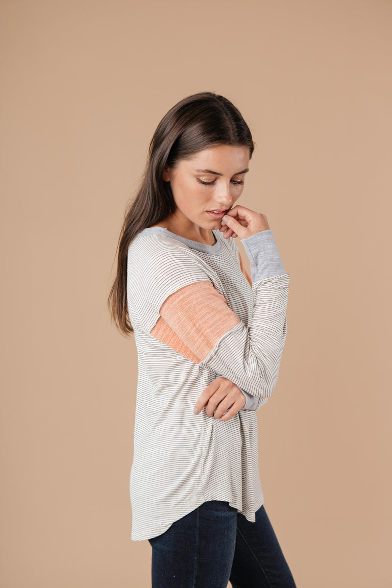Home Base Contrast Long Sleeve Top In Heather Gray-1XL, 2XL, 9-15-2020, Group A, Group B, Group C, Group D, Large, Medium, Plus, Small, Tops, XL-Womens Artisan USA American Made Clothing Accessories