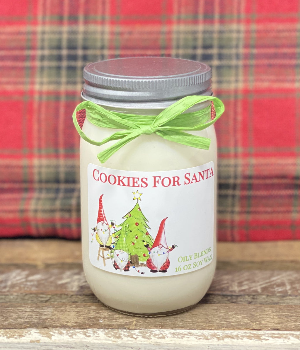 Gnome Christmas Candles - 16 oz Jumbo Soy Wax-Cookies for Santa-Womens Artisan USA American Made Clothing Accessories