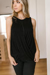 Knotted Hem Tank in Black-10-27-2020, 1XL, 2XL, 3XL, BFCM2020, Group A, Group B, Group C, Group D, Group T, Large, Medium, Plus, Small, Tops, XL, XS-Womens Artisan USA American Made Clothing Accessories