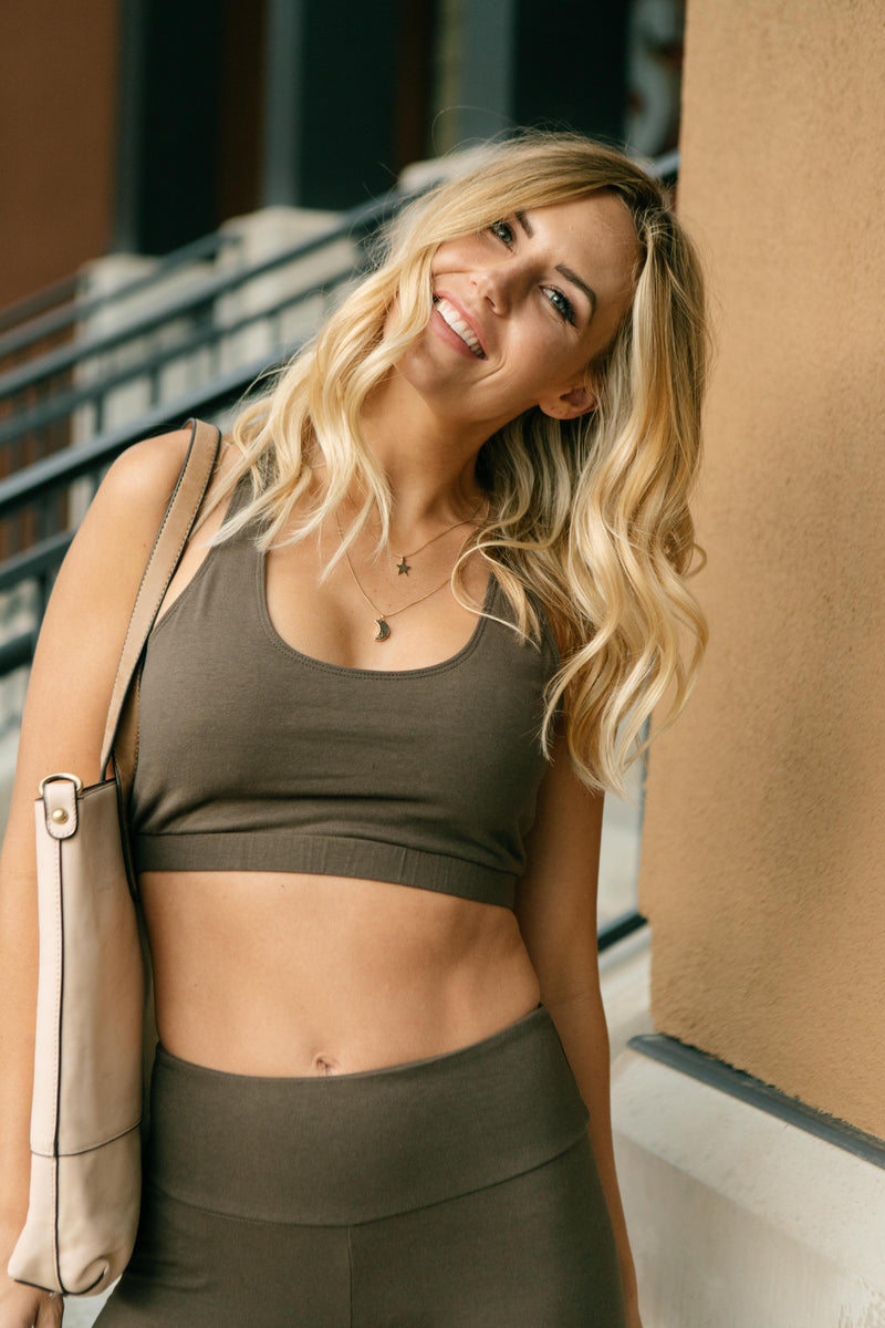 Lazy Days Racerback Bra in Deep Olive-10-13-2020, 1XL, 2XL, 3XL, BFCM2020, Group A, Group B, Group C, Group D, Group U, Group V, Group X, Group Y, Group Z, Large, Made in the USA, Medium, Plus, Small, Tops, XL, XS-Womens Artisan USA American Made Clothing Accessories