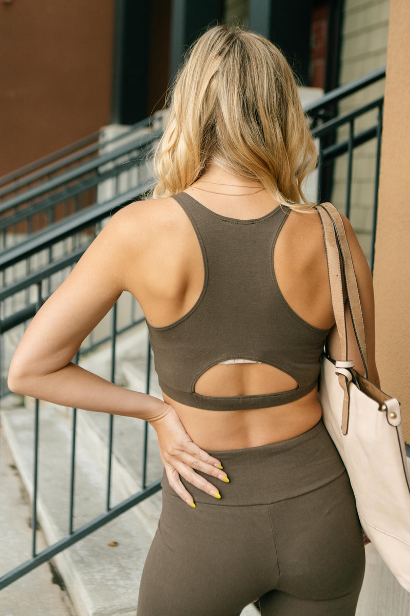 Lazy Days Racerback Bra in Deep Olive - On Hand-10-13-2020, 1XL, 2XL, 3XL, BFCM2020, Group A, Group B, Group C, Group D, Group V, Large, Made in the USA, Medium, Plus, Small, Tops, XL, XS-Medium-Womens Artisan USA American Made Clothing Accessories