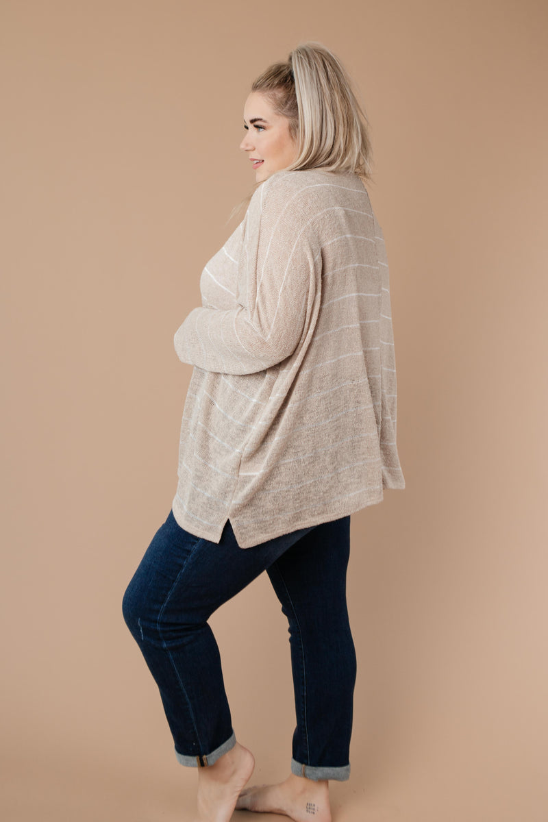 Lightweight Striped Pullover In Taupe-1XL, 2XL, 3XL, 9-8-2020, BFCM2020, Group A, Group B, Group C, Group D, Large, Medium, Plus, Small, Tops, Warehouse Sale, XL, XS-Womens Artisan USA American Made Clothing Accessories