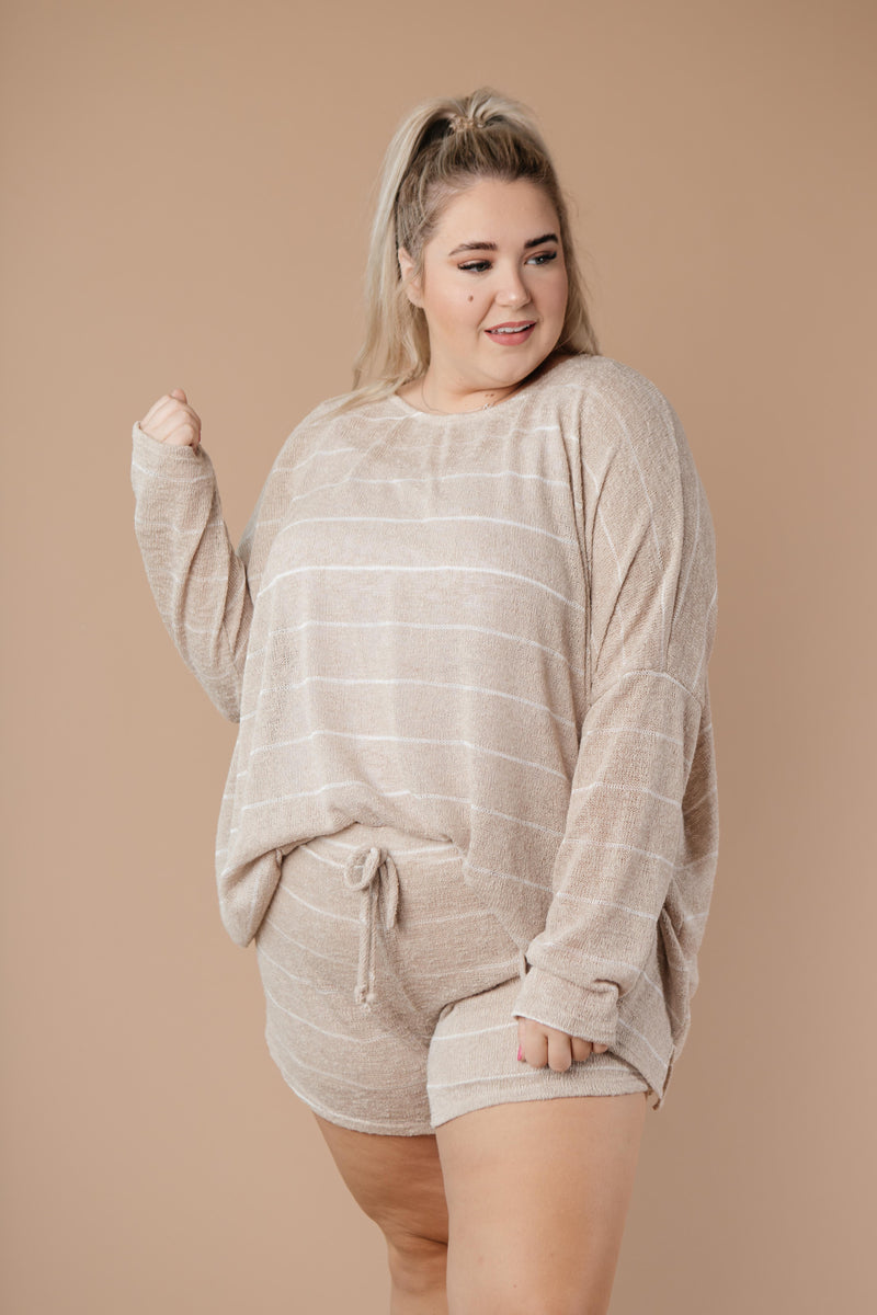 Lightweight Striped Shorts In Taupe-1XL, 2XL, 3XL, 9-8-2020, Bottoms, Group A, Group B, Group C, Group D, Large, Medium, Plus, Small, XL, XS-Womens Artisan USA American Made Clothing Accessories
