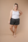 Lightweight Striped Shorts In Charcoal-1XL, 2XL, 3XL, 9-8-2020, BFCM2020, Bottoms, Group A, Group B, Group C, Group D, Group T, Group U, Group V, Group X, Group Y, Group Z, Large, Made in the USA, Medium, Plus, Small, Warehouse Sale, XL, XS-Womens Artisan USA American Made Clothing Accessories