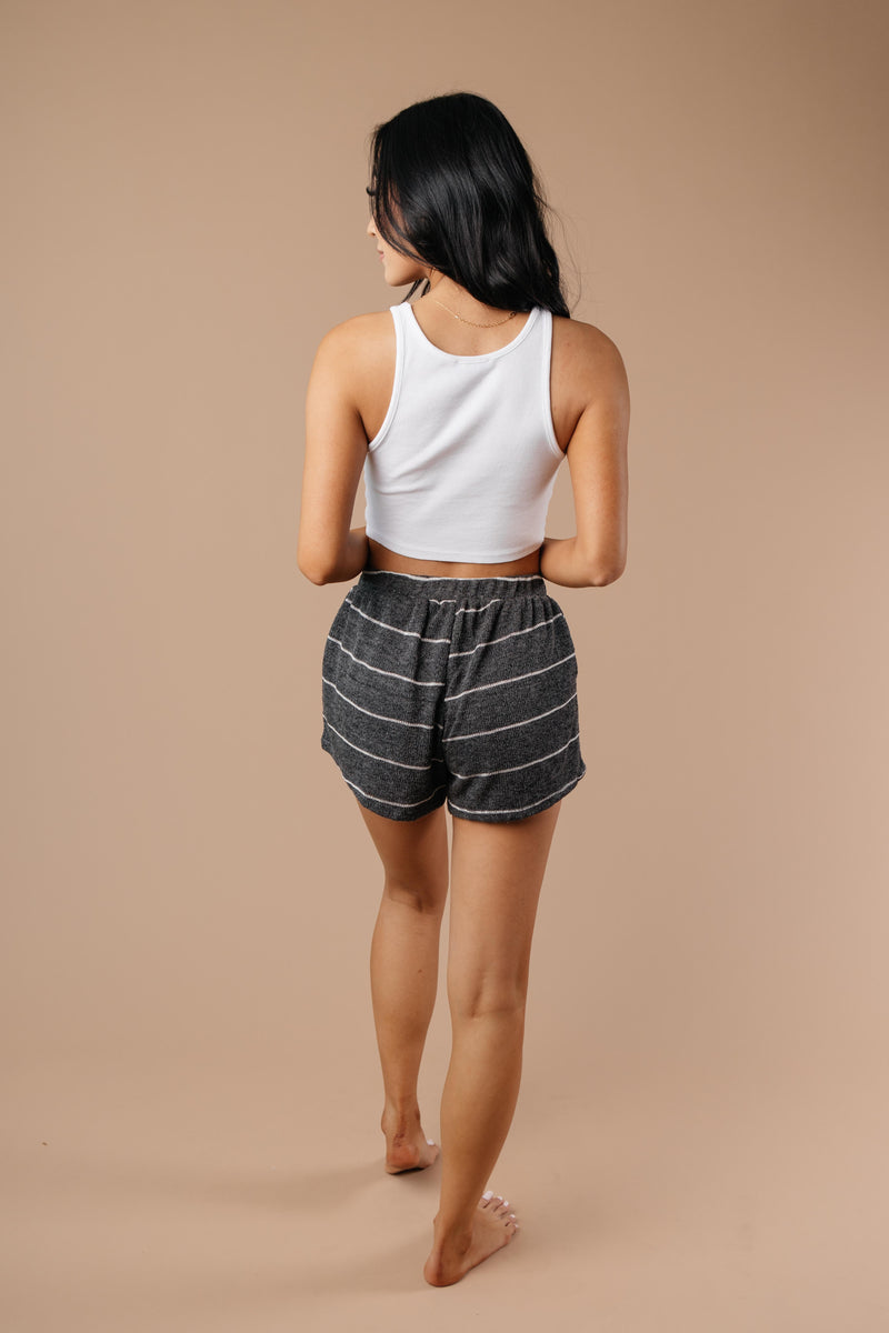 Lightweight Striped Shorts In Charcoal - On Hand-1XL, 2XL, 3XL, 9-8-2020, BFCM2020, Bottoms, Group A, Group B, Group C, Group D, Group T, Group V, Large, Made in the USA, Medium, Plus, Small, Warehouse Sale, XL, XS-Medium-Womens Artisan USA American Made Clothing Accessories