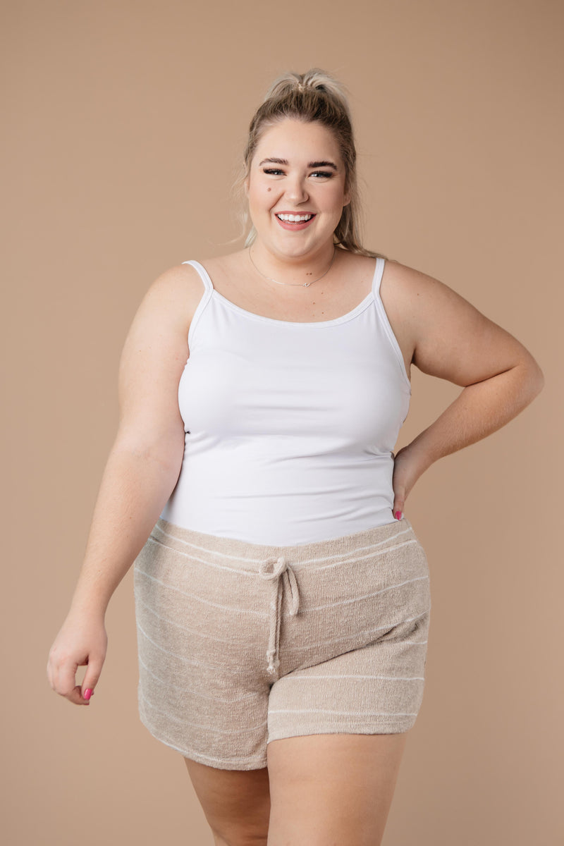 Lightweight Striped Shorts In Taupe-1XL, 2XL, 3XL, 9-8-2020, BFCM2020, Bottoms, Group A, Group B, Group C, Group D, Group T, Group U, Group V, Group X, Group Y, Group Z, Large, Made in the USA, Medium, Plus, Small, Warehouse Sale, XL, XS-Womens Artisan USA American Made Clothing Accessories
