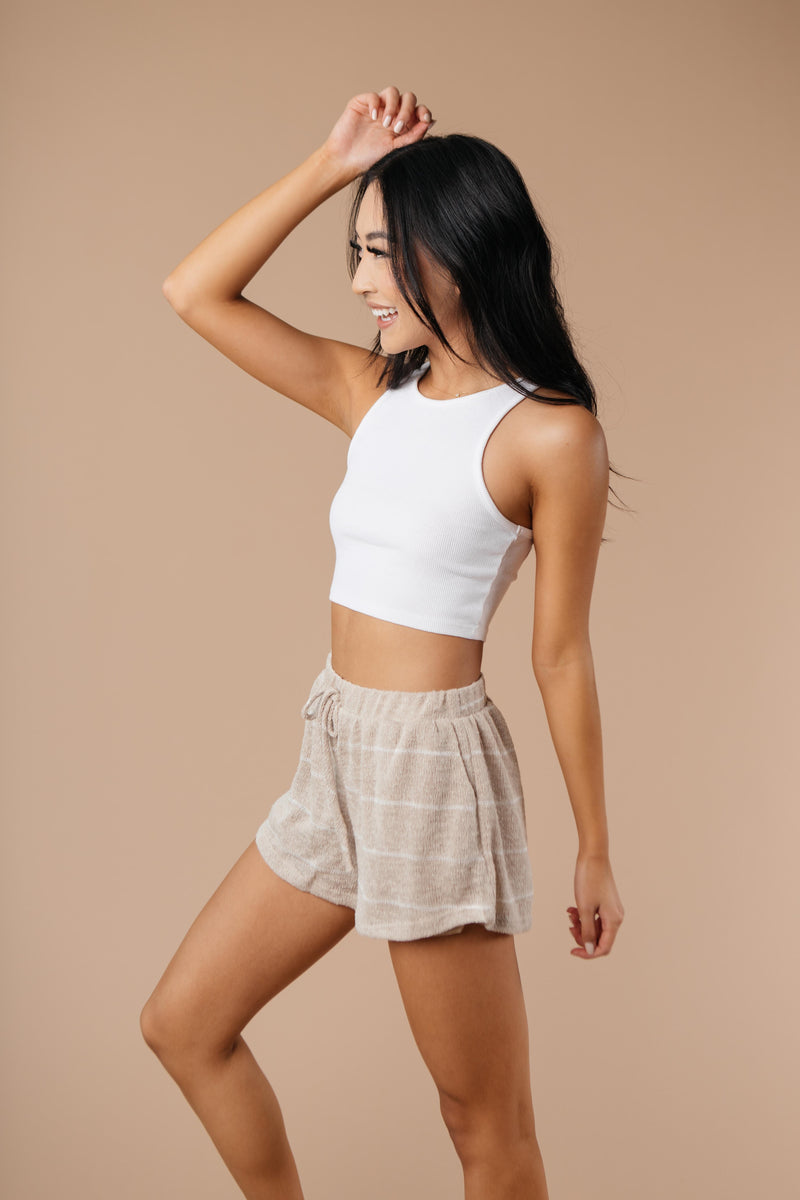 Lightweight Striped Shorts In Taupe - On Hand-1XL, 2XL, 3XL, 9-8-2020, BFCM2020, Bottoms, Group A, Group B, Group C, Group D, Group V, Large, Made in the USA, Medium, On hand, Plus, Small, Warehouse Sale, XL, XS-Medium-Womens Artisan USA American Made Clothing Accessories