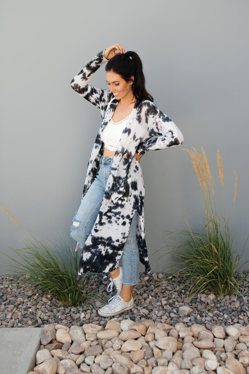 Long Game Black & White Cardigan-1XL, 2XL, 3XL, 8-27-2020, BFCM2020, Final Few Friday, Group A, Group B, Group C, Group D, Group T, Large, Made in the USA, Medium, Plus, Small, Tops, Warehouse Sale, XL, XS-Womens Artisan USA American Made Clothing Accessories