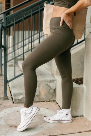 Lucy Lounging Leggings in Deep Olive-10-13-2020, 1XL, 2XL, 3XL, BFCM2020, Bottoms, Group A, Group B, Group C, Group D, Group W, Large, Medium, Plus, Small, XL, XS-Womens Artisan USA American Made Clothing Accessories