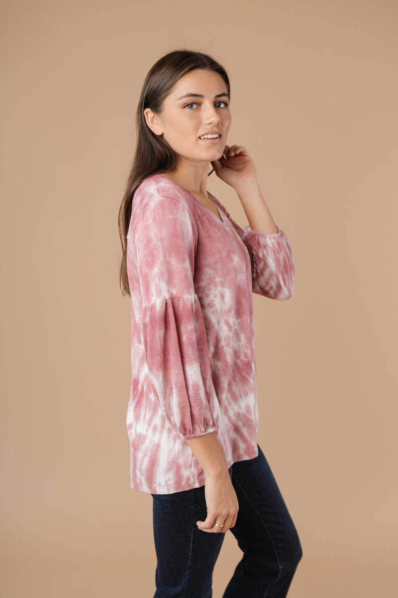 Marvelous Mauve Tie Dye V Neck-1XL, 2XL, 3XL, 9-17-2020, BFCM2020, Group A, Group B, Group C, Group D, Group S, Group T, Group U, Group V, Group X, Group Y, Group Z, Large, Made in the USA, Medium, Plus, Small, Tops, Warehouse Sale, XL, XS-Womens Artisan USA American Made Clothing Accessories