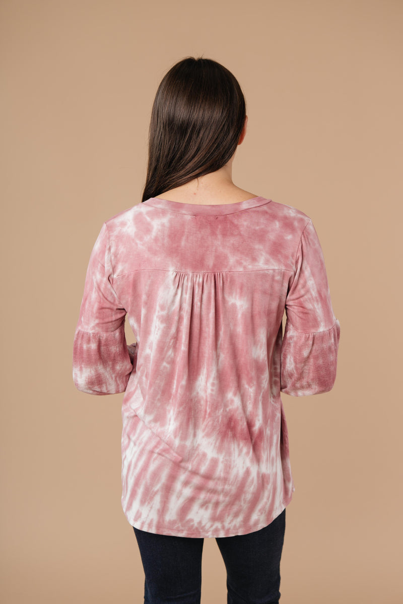Marvelous Mauve Tie Dye V Neck-1XL, 2XL, 3XL, 9-17-2020, Featured, Group A, Group B, Group C, Group D, Group S, Large, Medium, Plus, Small, Tops, XL, XS-Womens Artisan USA American Made Clothing Accessories