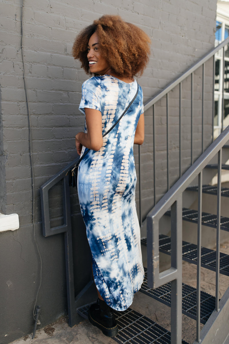 Miami Beach Tie Dye Maxi Dress In Navy-1XL, 2XL, 9-22-2020, Dresses, Group A, Group B, Group C, Group D, Large, Medium, Plus, Small, XL-Womens Artisan USA American Made Clothing Accessories