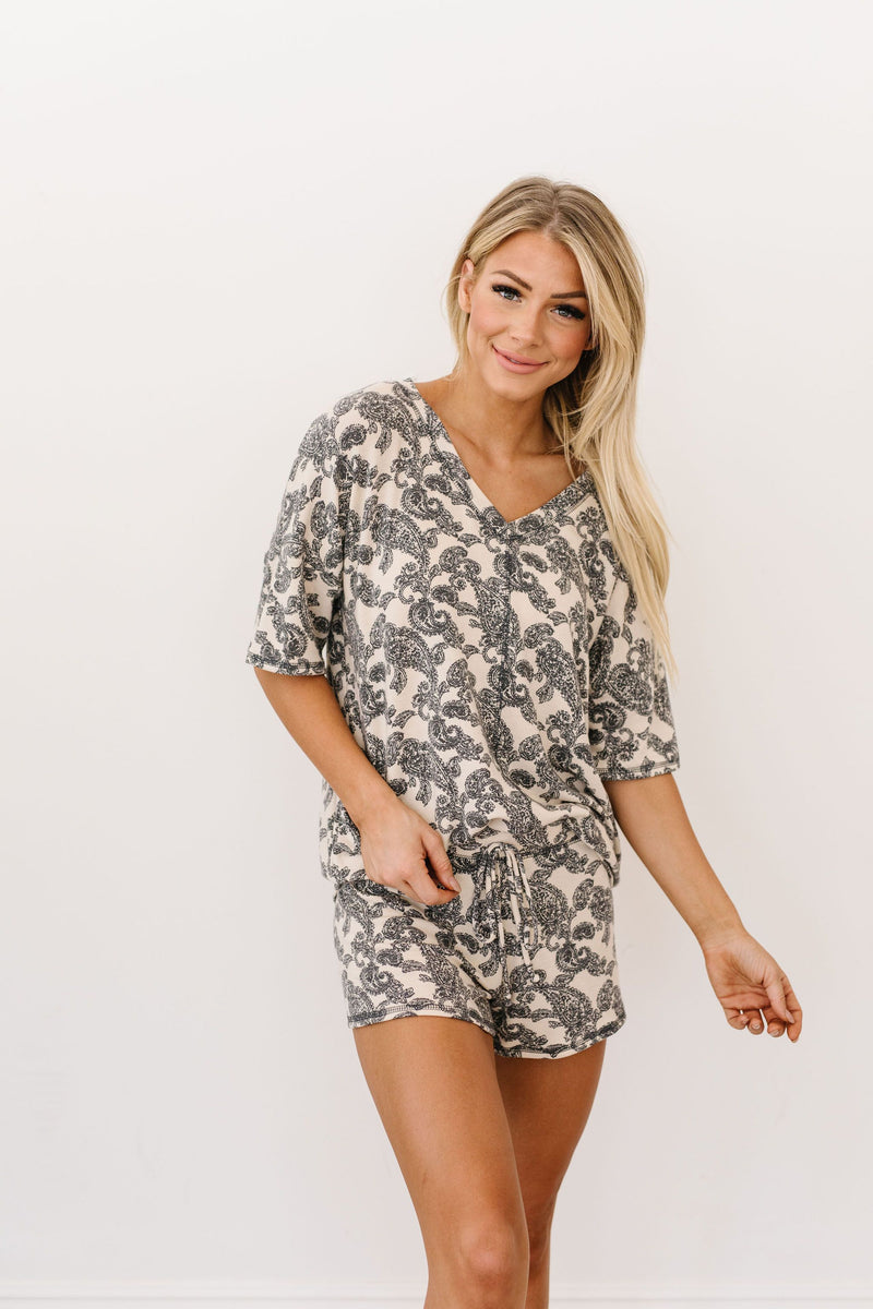 Paisley PJ Top-1XL, 2XL, 3XL, 8-26-2020, Group A, Group B, Group C, Large, Medium, Plus, Small, Tops, XL, XS-Womens Artisan USA American Made Clothing Accessories