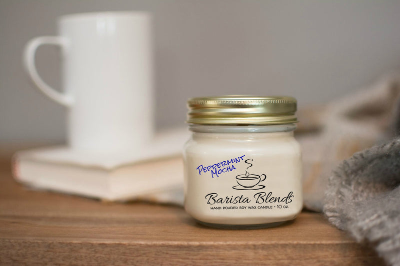 Barista Blends Coffee House Soy Wax Candles-Peppermint Mocha-Womens Artisan USA American Made Clothing Accessories