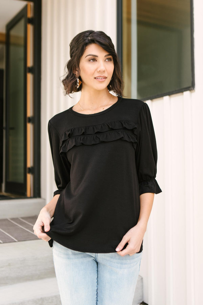 Raven Ruffles Top-1XL, 2XL, 3XL, 4-21-2021, 4-6-2021, Bonus, Group A, Group B, Group C, Large, Made in the USA, Medium, Small, Tops, XL, XS-Womens Artisan USA American Made Clothing Accessories