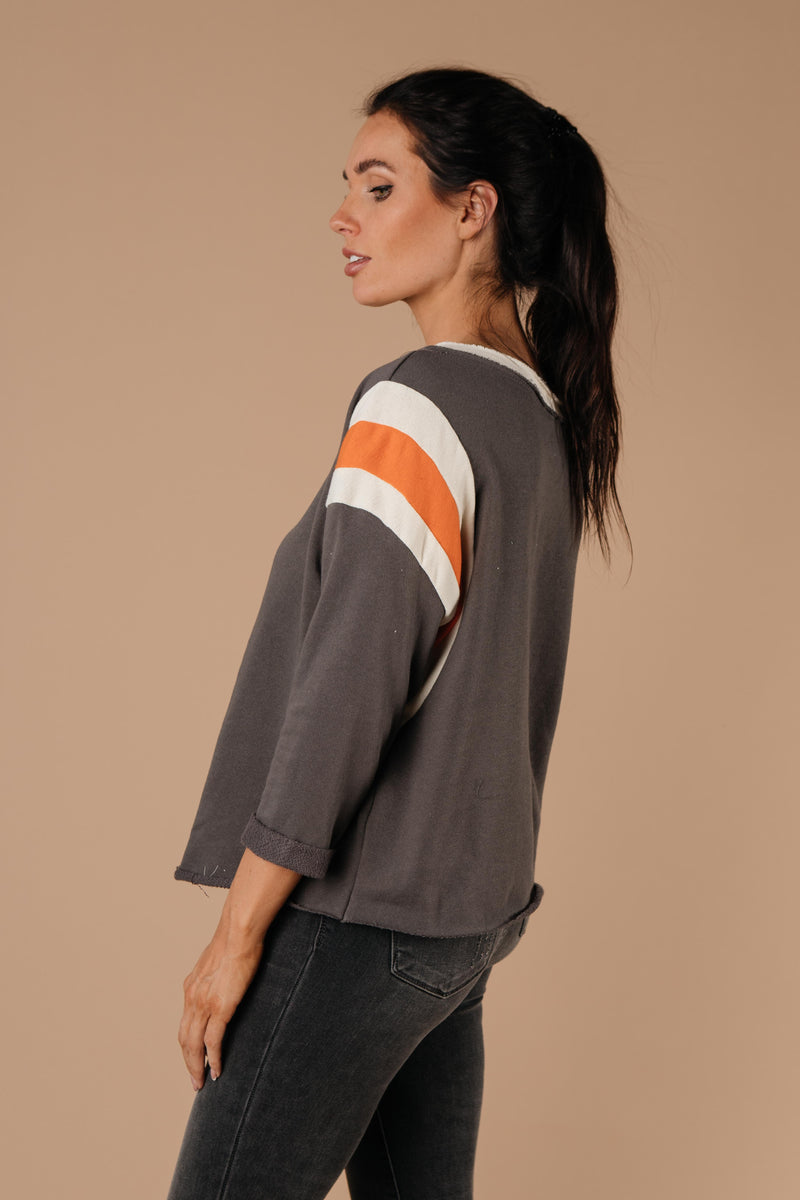 Sporty Stripe Pullover In Charcoal-1XL, 2XL, 3XL, 9-1-2020, BFCM2020, Group A, Group B, Group C, Group D, Large, Made in the USA, Medium, Plus, Small, Tops, Warehouse Sale-Womens Artisan USA American Made Clothing Accessories