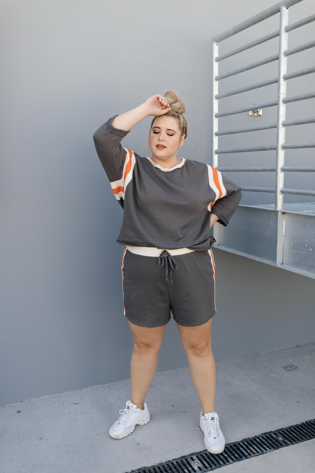Sporty Stripe Shorts In Charcoal-1XL, 2XL, 3XL, 9-1-2020, BFCM2020, Bottoms, Group A, Group B, Group C, Group D, Group T, Large, Made in the USA, Medium, Plus, Small, Warehouse Sale-Womens Artisan USA American Made Clothing Accessories