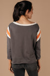 Sporty Stripe Pullover In Charcoal-1XL, 2XL, 3XL, 9-1-2020, Group A, Group B, Group C, Large, Medium, Plus, Small, Tops-Womens Artisan USA American Made Clothing Accessories