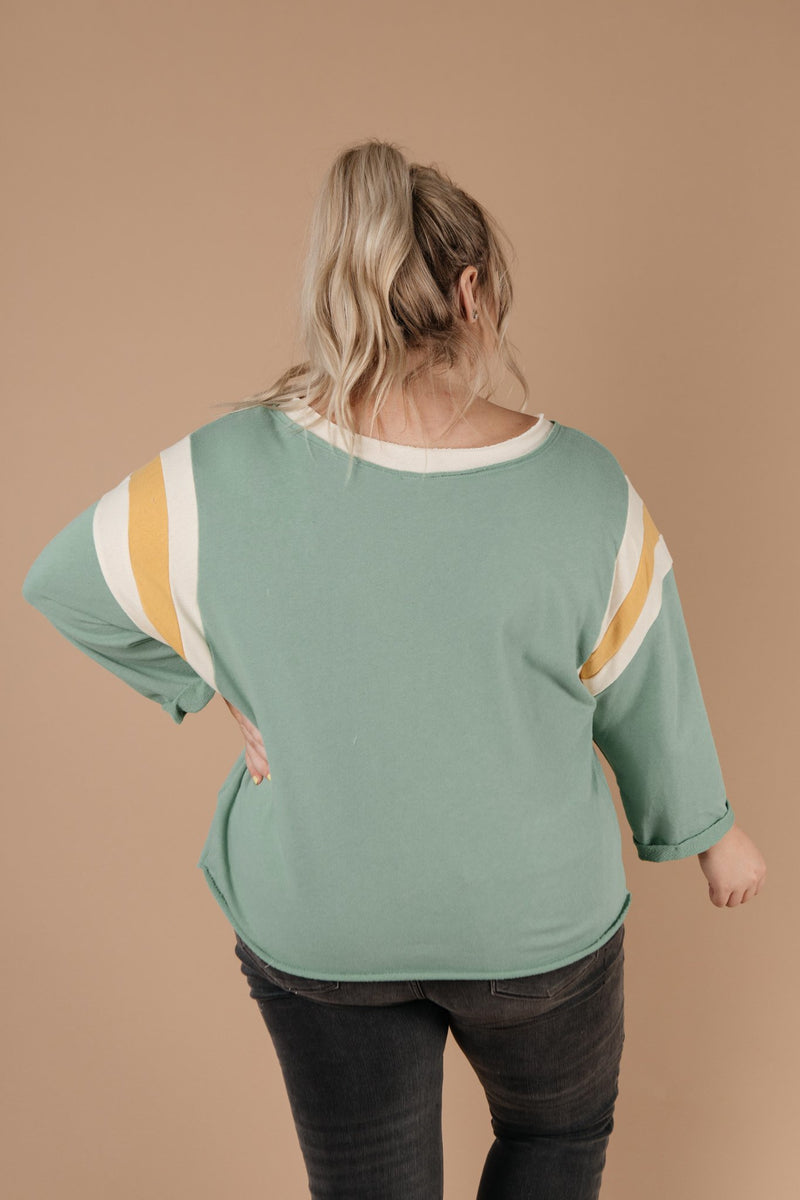 Sporty Stripe Pullover In Mint-1XL, 2XL, 3XL, 9-1-2020, BFCM2020, Group A, Group B, Group C, Group D, Group T, Large, Made in the USA, Medium, Plus, Small, Tops, Warehouse Sale-Womens Artisan USA American Made Clothing Accessories