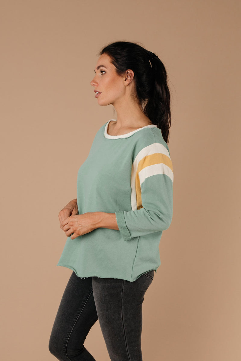 Sporty Stripe Pullover In Mint-1XL, 2XL, 3XL, 9-1-2020, BFCM2020, Group A, Group B, Group C, Group D, Group T, Large, Medium, Plus, Small, Tops, Warehouse Sale-Womens Artisan USA American Made Clothing Accessories