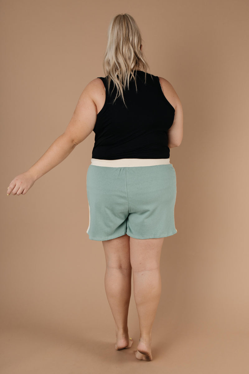 Sporty Stripe Shorts In Mint-1XL, 2XL, 3XL, 9-1-2020, Bottoms, Group A, Group B, Group C, Group D, Large, Medium, Plus, Small, Warehouse Sale-Womens Artisan USA American Made Clothing Accessories