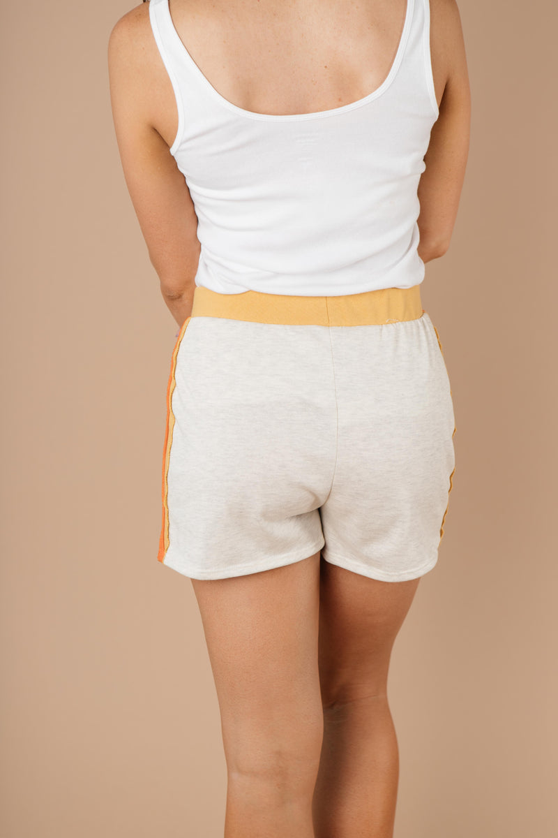 Sporty Stripe Shorts In Oatmeal-1XL, 2XL, 3XL, 9-1-2020, BFCM2020, Bottoms, Group A, Group B, Group C, Group D, Group T, Large, Medium, Plus, Small, Warehouse Sale-Womens Artisan USA American Made Clothing Accessories