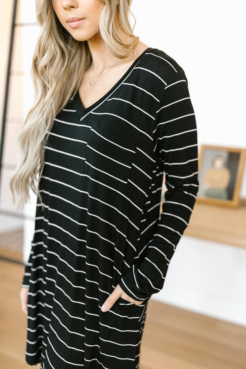 Stripes For Likes Dress in Black-11-19-2020, 11-24-2020, 1XL, 2XL, BFCM2020, Bonus, Dresses, Group A, Group B, Group C, Group V, Large, Medium, Small, XL-Womens Artisan USA American Made Clothing Accessories