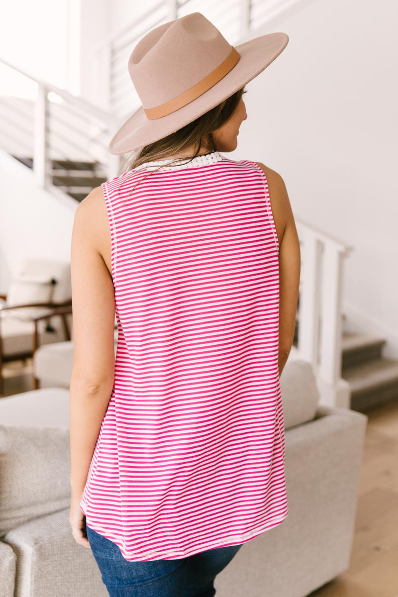 Stripes N Lace Top In Pink-1XL, 2XL, 3XL, 4-22-2021, 5-5-2021, Bonus, Group A, Group B, Group C, Large, Made in the USA, Medium, Small, Tops, XL-Womens Artisan USA American Made Clothing Accessories