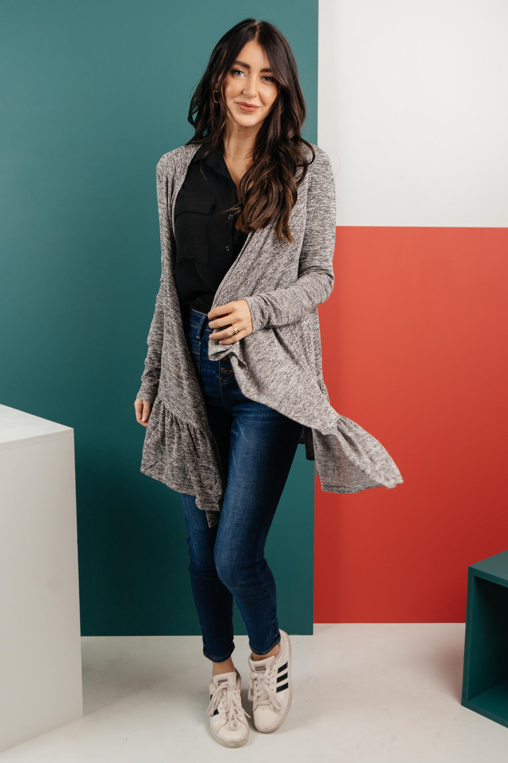 The Avalynn Heathered Cardigan in Smoky Coal-1-5-2021, 1XL, 2XL, 3XL, Group A, Group B, Group C, Group T, Group U, Group X, Group Y, Group Z, Large, Made in the USA, Medium, Small, Tops, XL, XS-Womens Artisan USA American Made Clothing Accessories