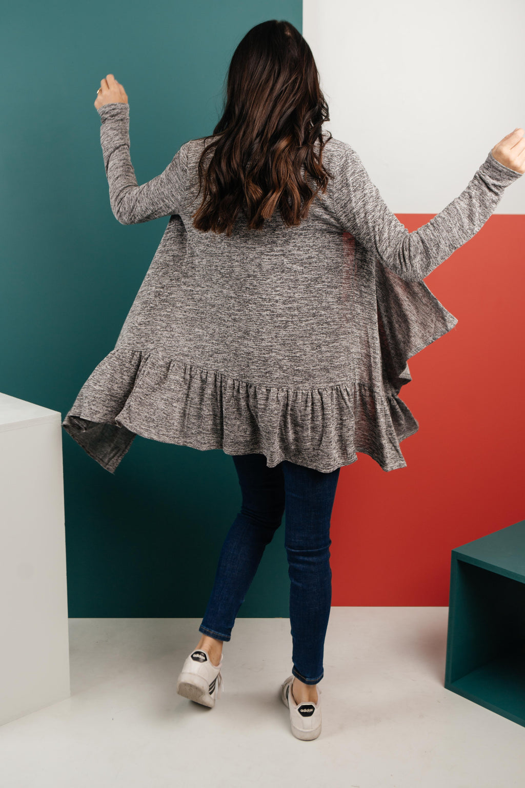 The Avalynn Heathered Cardigan in Smoky Coal-1-5-2021, 1XL, 2XL, 3XL, Group A, Group B, Group C, Large, Medium, Small, Tops, XL, XS-Womens Artisan USA American Made Clothing Accessories