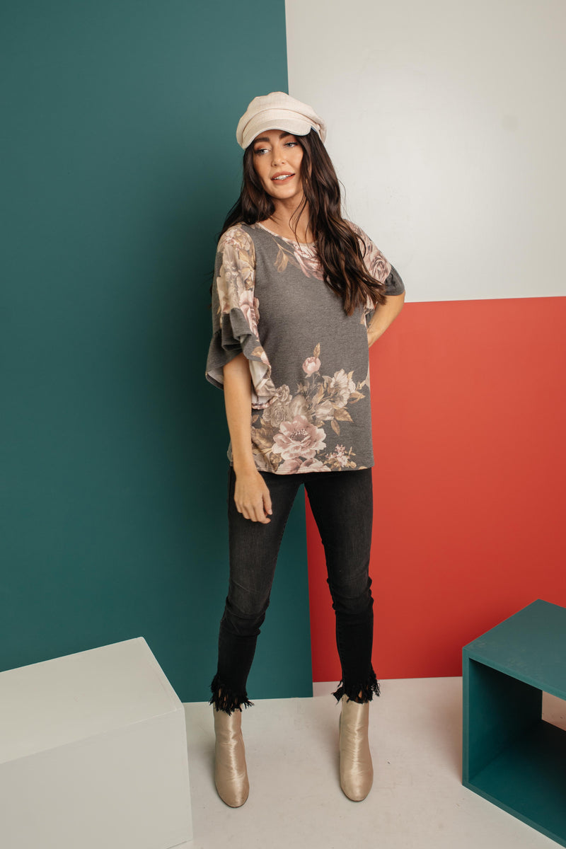 The Flirty Sleeve Floral Blouse-1-5-2021, 1XL, 2XL, 3XL, Group A, Group B, Group C, Large, Medium, Small, Tops, XL, XS-Womens Artisan USA American Made Clothing Accessories