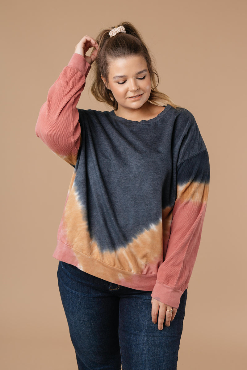 Tie Dye Chevron Pullover In Blue - On Hand-1XL, 2XL, 3XL, 9-17-2020, BFCM2020, Group A, Group B, Group C, Group D, Group T, Large, Medium, Plus, Small, Tops, XL, XS-Small-Womens Artisan USA American Made Clothing Accessories