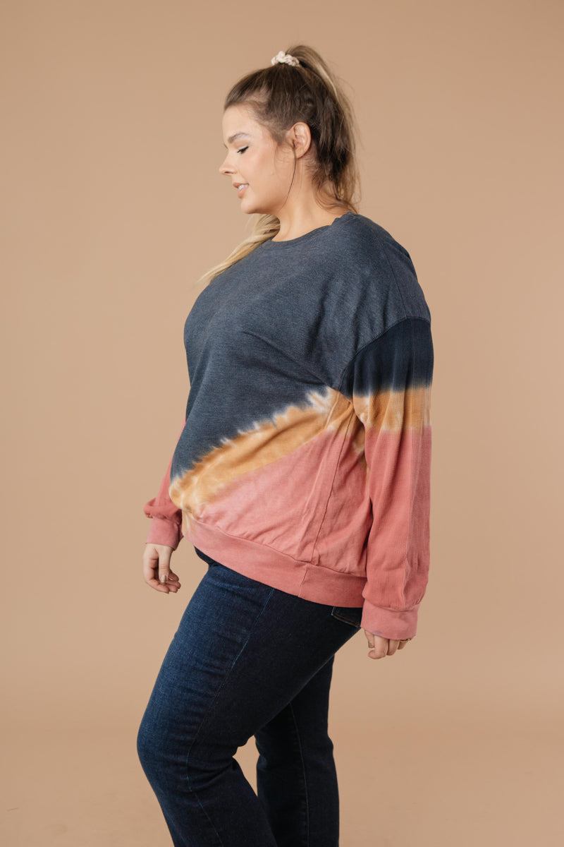Tie Dye Chevron Pullover In Blue-1XL, 2XL, 3XL, 9-17-2020, BFCM2020, Group A, Group B, Group C, Group D, Group T, Large, Medium, Plus, Small, Tops, XL, XS-Womens Artisan USA American Made Clothing Accessories