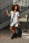 Tie Dye T-Shirt Dress In Charcoal-1XL, 2XL, 3XL, 9-24-2020, Dresses, Group A, Group B, Group C, Group D, Large, Medium, Plus, Small, XL, XS-Womens Artisan USA American Made Clothing Accessories
