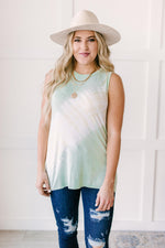 Diagonally Tie Dye Tank In Mint-1XL, 2XL, 3-23-2021, 3XL, Group A, Group B, Group C, Group D, Large, Made in the USA, Medium, Small, Tops, XL, XS-Womens Artisan USA American Made Clothing Accessories