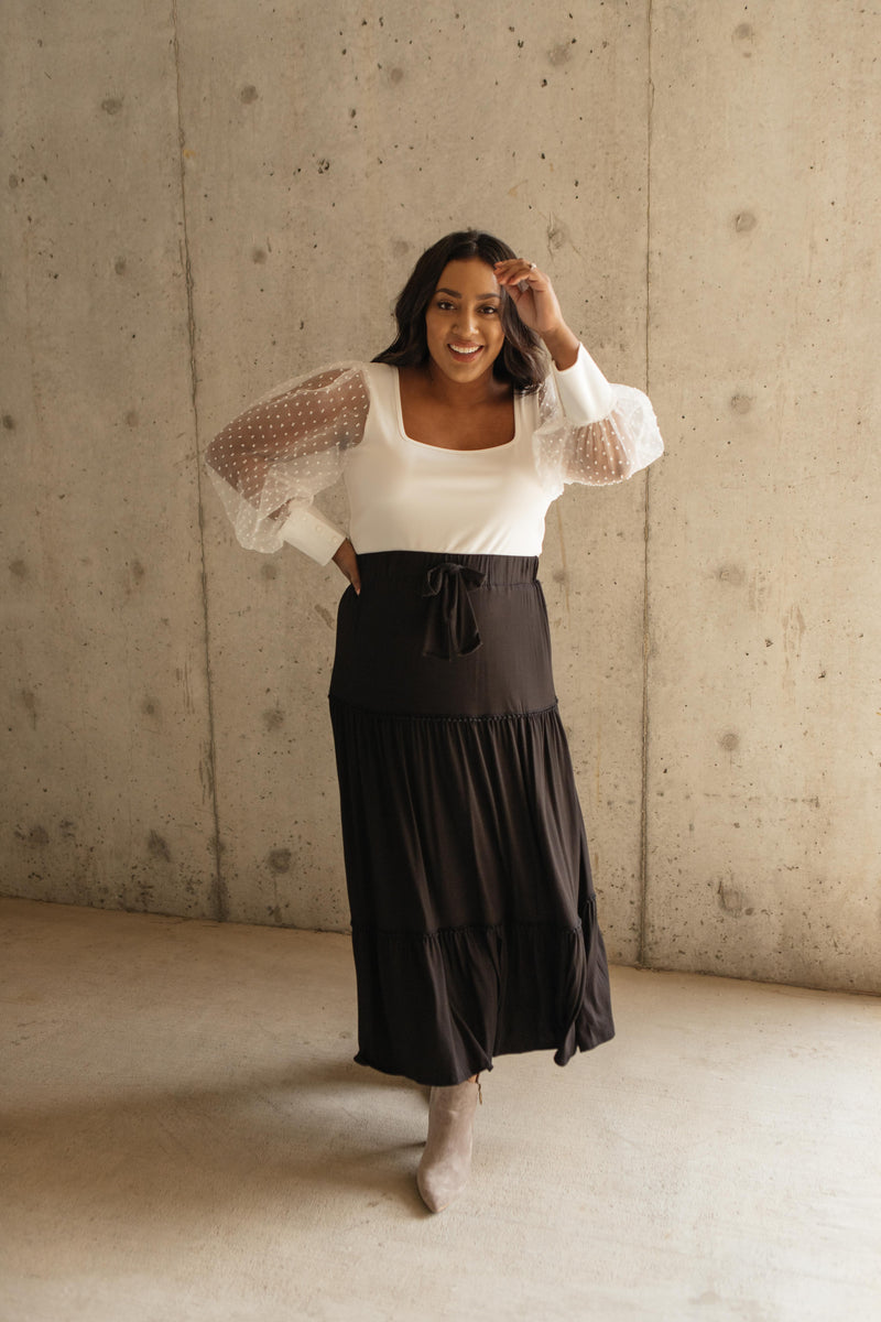 Tiered & Tied Skirt In Black-10-7-2020, 1XL, 2XL, 3XL, BFCM2020, Bottoms, Group A, Group B, Group C, Group D, Group S, Group T, Large, Made in the USA, Medium, Plus, Small, XL, XS-Womens Artisan USA American Made Clothing Accessories