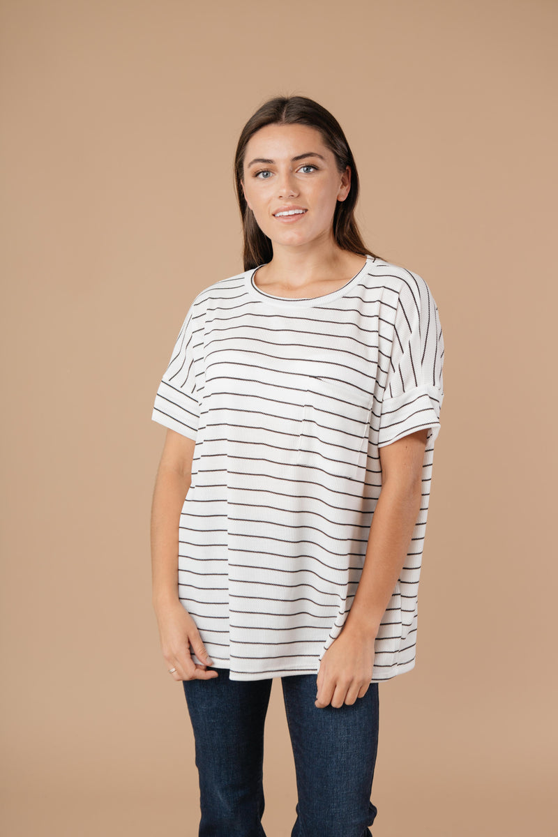 Tow The Line Striped Tee In Off White-1XL, 2XL, 9-15-2020, Group A, Group B, Group C, M/L, Plus, S/M, Tops, XL-Womens Artisan USA American Made Clothing Accessories