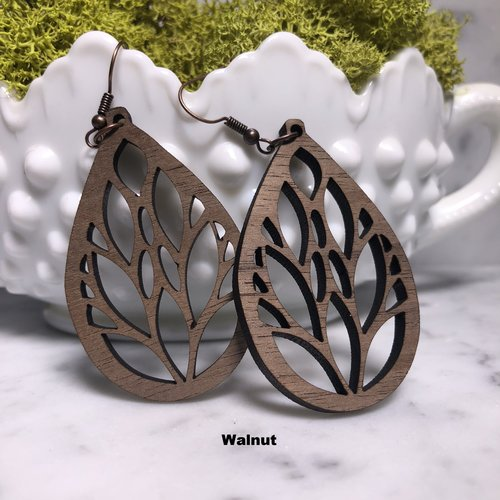 Grace Tree Of Life Walnut Wood-accessories, earrings, jewelry-Womens Artisan USA American Made Clothing Accessories
