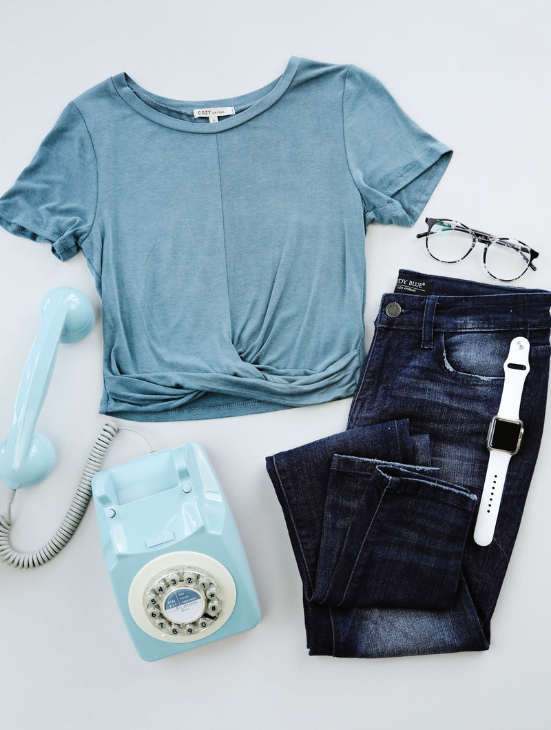 Twisted Crop Top In Teal-5-21-2020, 5-29-2020, Bonus, Group A, Group B, Group C, Large, Medium, Small, Tops-Womens Artisan USA American Made Clothing Accessories