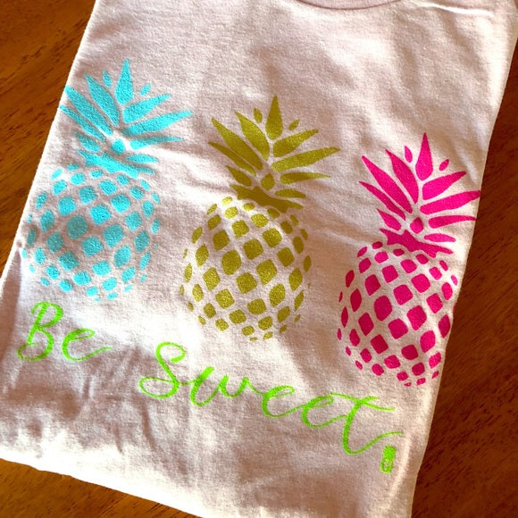 Be Sweet Pineapple Crew Tee-cotton tee, Graphic Tees, Lavender, Made in the USA, pineapple-Womens Artisan USA American Made Clothing Accessories