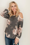 Waffle Meets Floral Top in Charcoal-1-12-2021, 1XL, 2XL, 3XL, Group A, Group B, Group C, Group X, Group Z, Large, Made in the USA, Medium, Small, Tops, XL, XS-Womens Artisan USA American Made Clothing Accessories