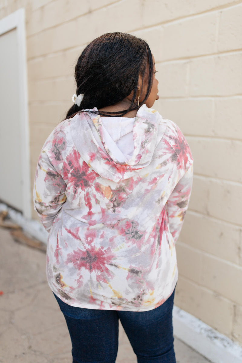 Warm Tie Dye Vibes Hoodie - On Hand-1XL, 2XL, 3XL, 9-22-2020, BFCM2020, Final Few Friday, Group A, Group B, Group C, Group D, Group S, Group T, Large, Medium, Plus, Small, Tops, XL, XS-Small-Womens Artisan USA American Made Clothing Accessories