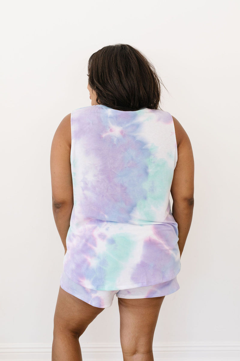 Watercolor Tie Dye Shorts In Lilac-1XL, 2XL, 3XL, 8-26-2020, Bottoms, Group A, Group B, Group C, Group D, Large, Medium, Plus, Small, XL, XS-Womens Artisan USA American Made Clothing Accessories