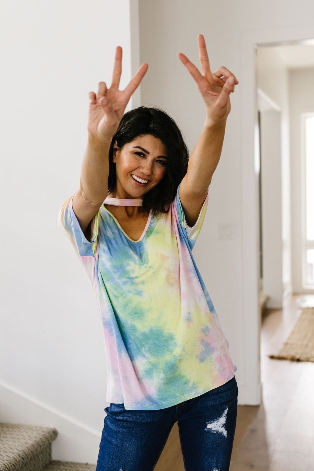All Choked Up Tie Dye Top-1XL, 2XL, 3XL, 4-16-2020, Large, Medium, Plus, Small, Sync, Tops, XL, XS-Womens Artisan USA American Made Clothing Accessories