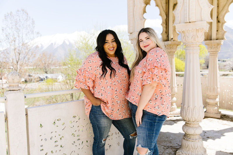 Apricot Ruffles Floral Blouse-1XL, 2XL, 3XL, 4-23-2020, BFCM2020, Bonus, Final Few Friday, Group A, Group B, Group C, Group D, Group T, Large, Medium, Plus, Small, Tops-Womens Artisan USA American Made Clothing Accessories