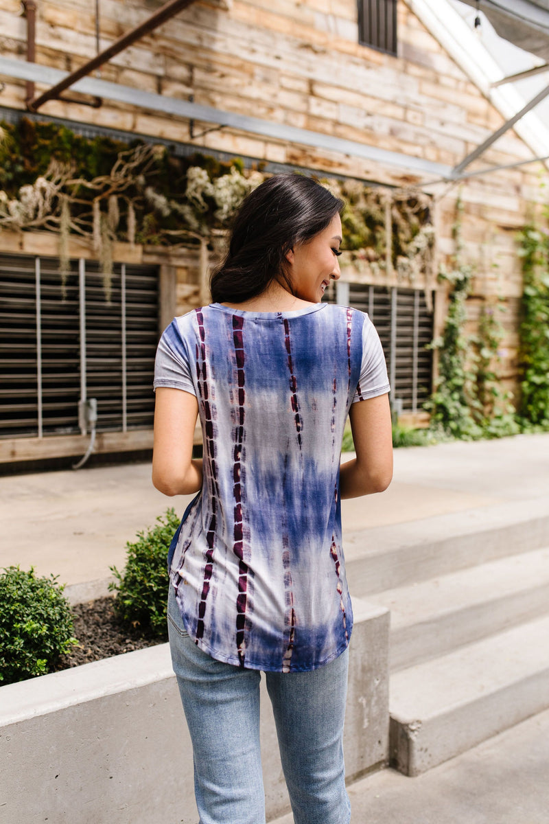 Bamboo Blues Tie Dye Top-1XL, 2XL, 3XL, 6-30-2020, 7-10-2020, BFCM2020, Bonus, Group A, Group B, Group C, Group D, Large, Medium, Plus, Small, Tops, Warehouse Sale, XL, XS-Womens Artisan USA American Made Clothing Accessories