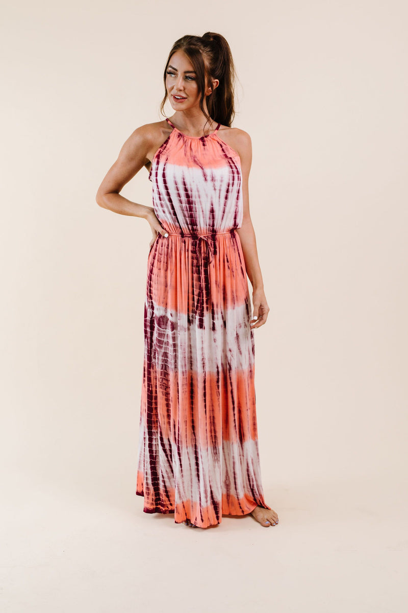 Bamboo Coral Halter Dress-1XL, 2XL, 3XL, 8-25-2020, 9-11-2020, Bonus, Dresses, Group A, Group B, Group C, Group D, Large, Medium, Plus, Small, XL, XS-Womens Artisan USA American Made Clothing Accessories