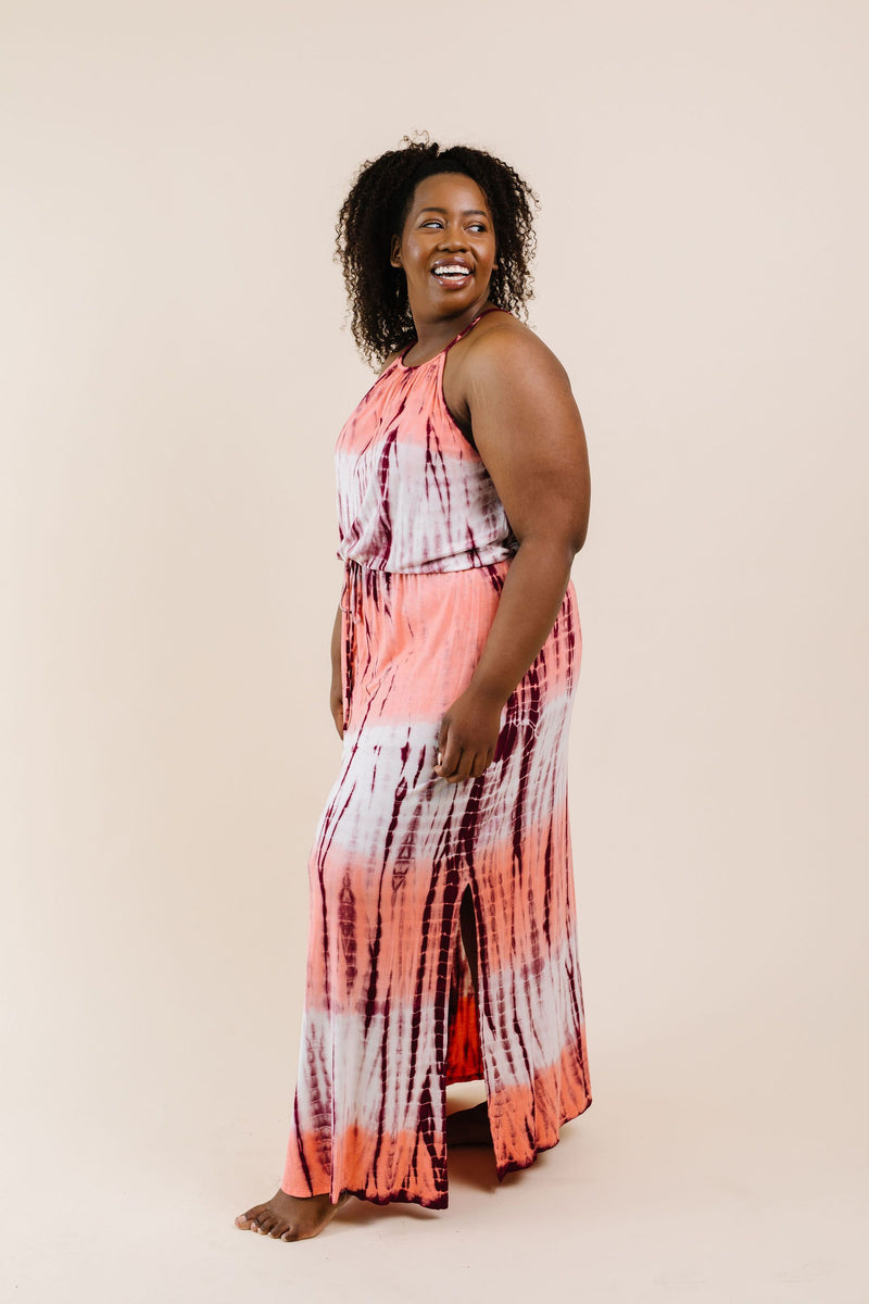 Bamboo Coral Halter Dress - On Hand-1XL, 2XL, 3XL, 8-25-2020, 9-11-2020, BFCM2020, Bonus, Dresses, Group A, Group B, Group C, Group D, Group T, Large, Medium, Plus, Small, XL, XS-Small-Womens Artisan USA American Made Clothing Accessories