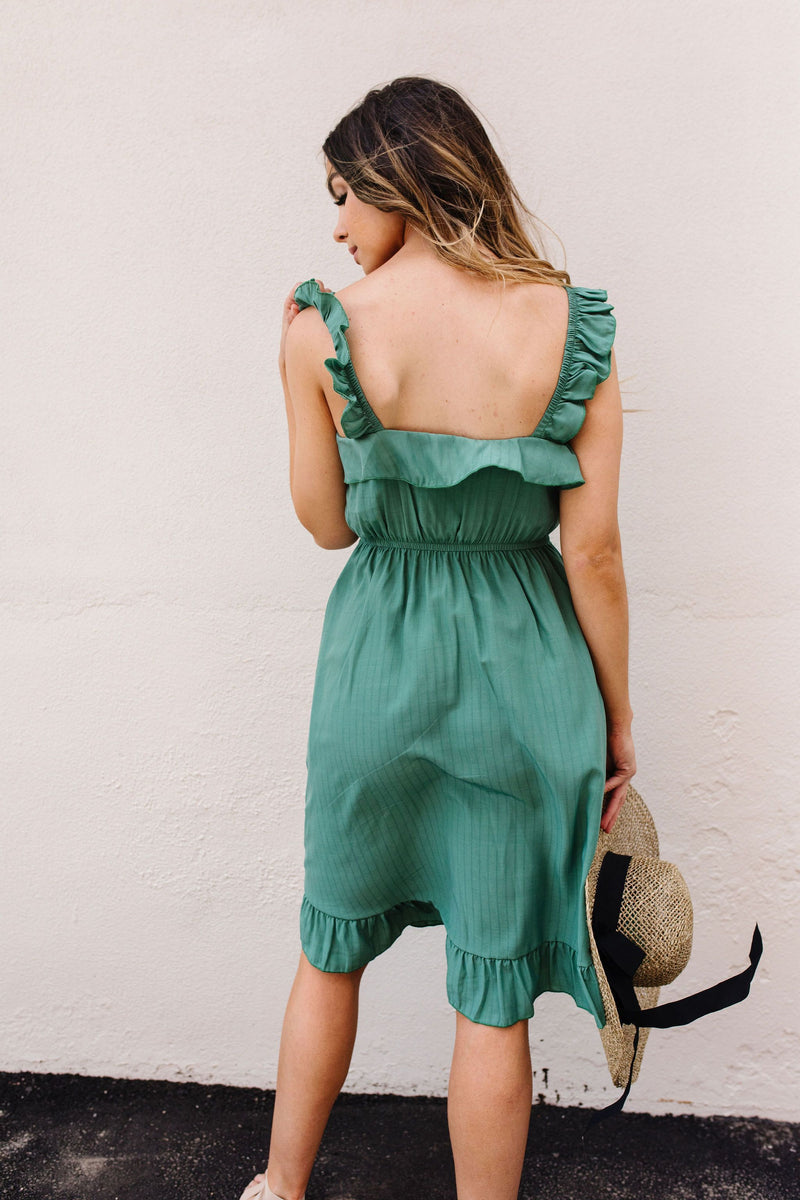 Barely Ruffled Green Sun Dress-1XL, 2XL, 3XL, 5-7-2020, BFCM2020, Dresses, Final Few Friday, Group A, Group B, Group C, Group D, Large, Made in the USA, Medium, Plus, Small, Warehouse Sale-Womens Artisan USA American Made Clothing Accessories